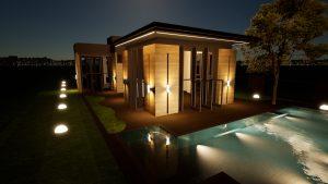 Diseño iluminacion casa fachada